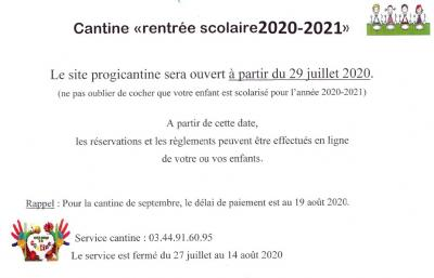 Informations CANTINE 2020.2021